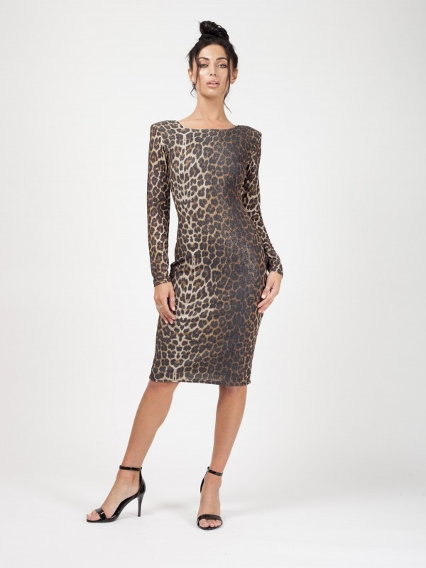 Lurex Leopard Print Midi Dress