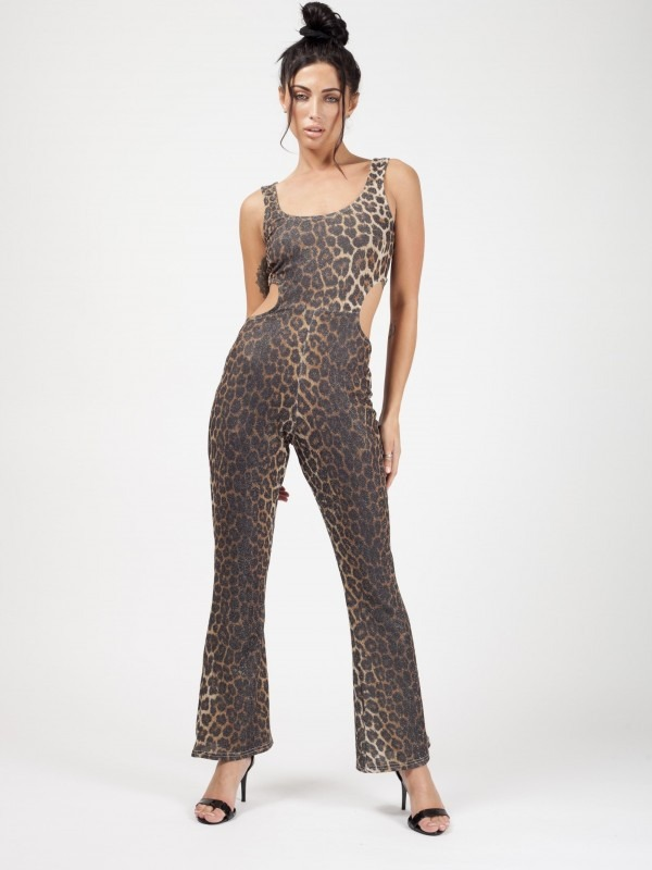 Cut Out Sides Leopard Print Lurex Jumpsuit