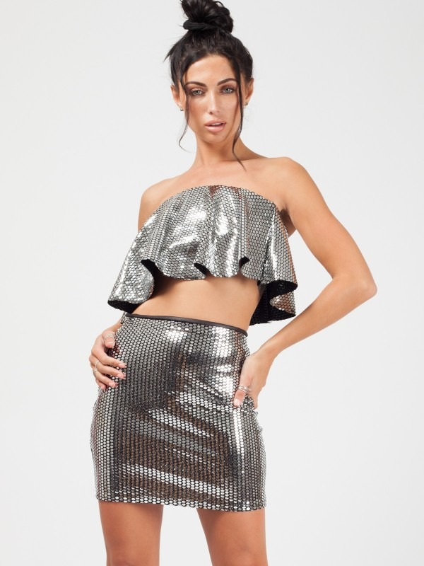 Sequin Frill Crop Top & Skirt Co-ord