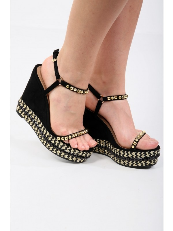 Studded Espadrille Gladiator Wedges