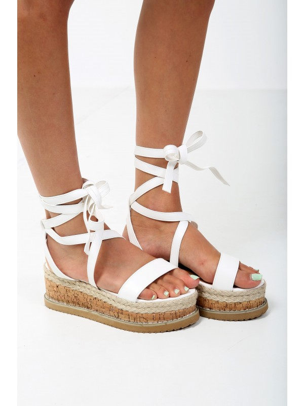 Lace Up PU Espadrille Wedges