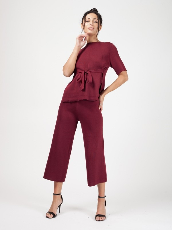Olivia Tie Detail Top & Cropped Pants Loungewear Set