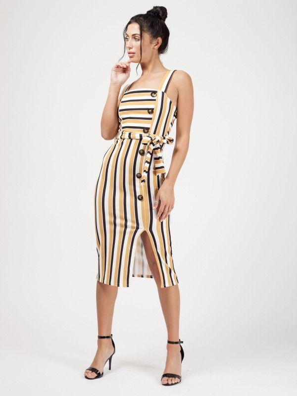 Striped Button Detail Belted Midi Dress