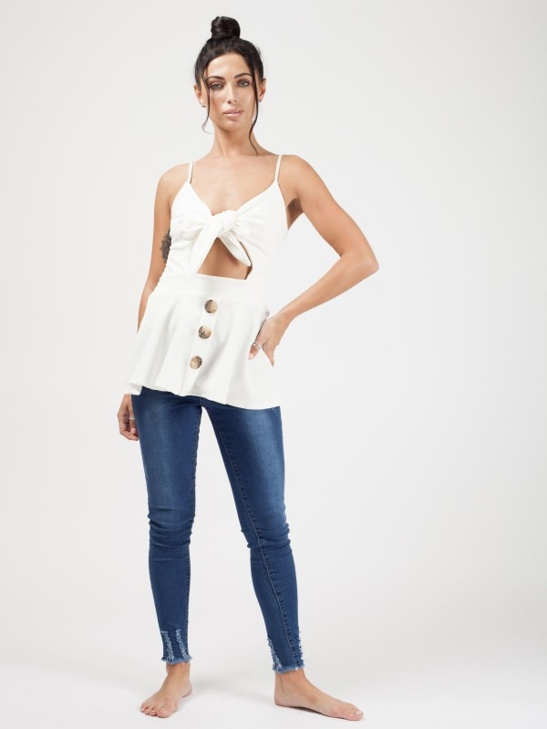 Knot Front Button Cami Top