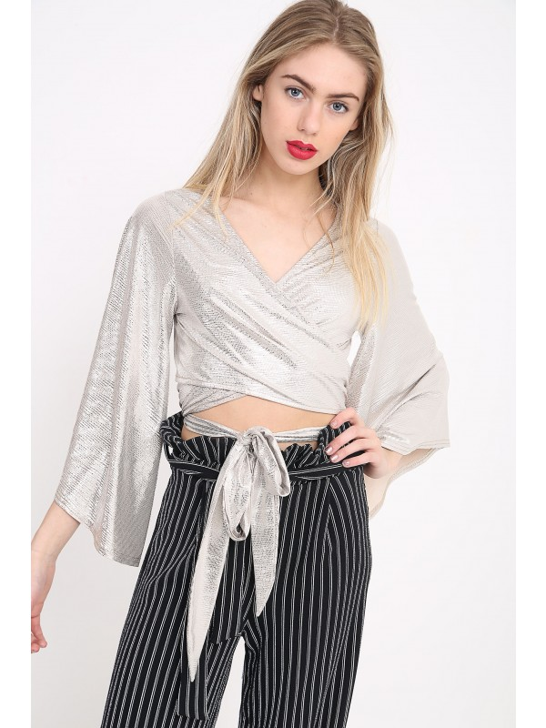 Tie Knot Bell Sleeve Metallic Crop Top