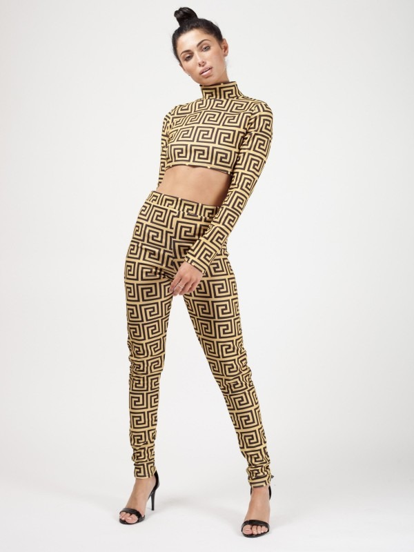 Illusion Print Crop Top & Trouser Co-ord