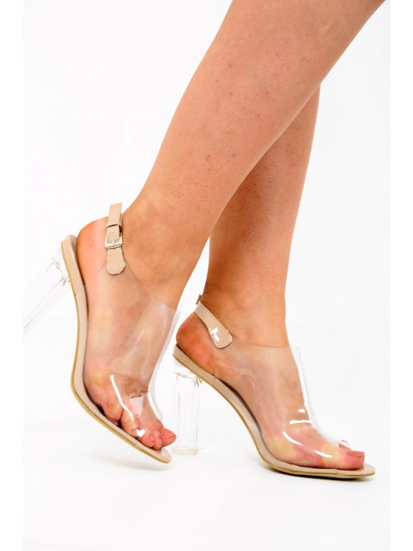 Patent Clear Perspex Peep Toe Heel Boots