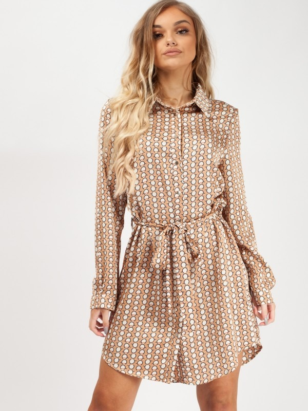 Circle Print Tie Waist Shirt Dress
