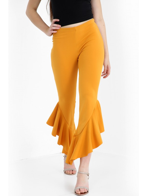 Flared Frill Hem Cropped Trousers