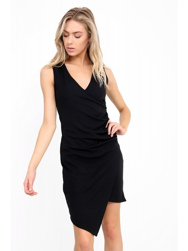 Wrap Over Ruched Asymmetric Dress