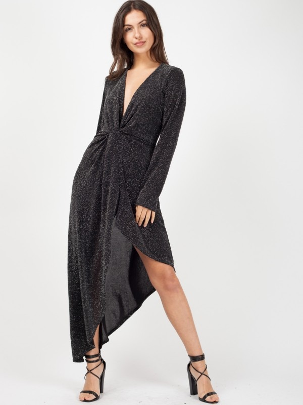 Celeb Kady Twist Front Asymmetrical Lurex Dress