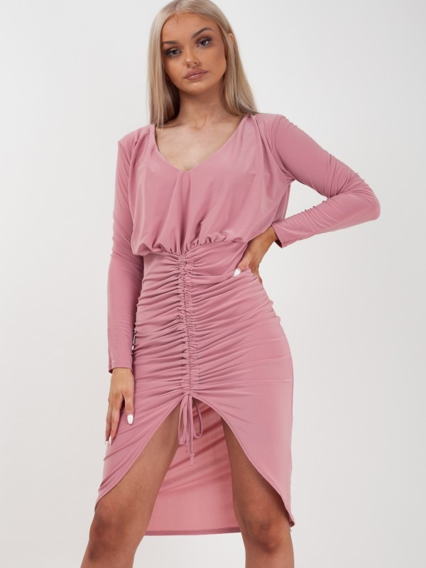 Drawstring Ruched Front Bodycon Dress