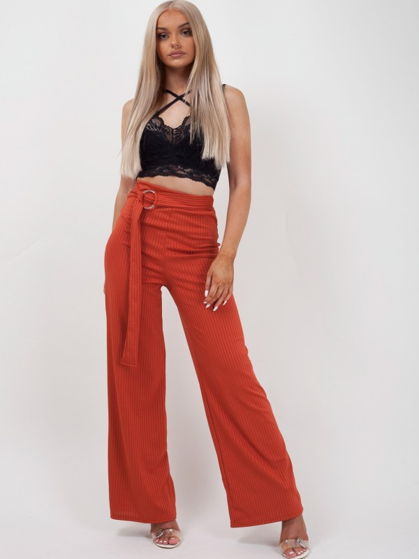 Double Ring Belt Ribbed Trousers