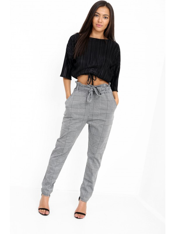 Multi Check Paper Bag Tie Waist Trousers