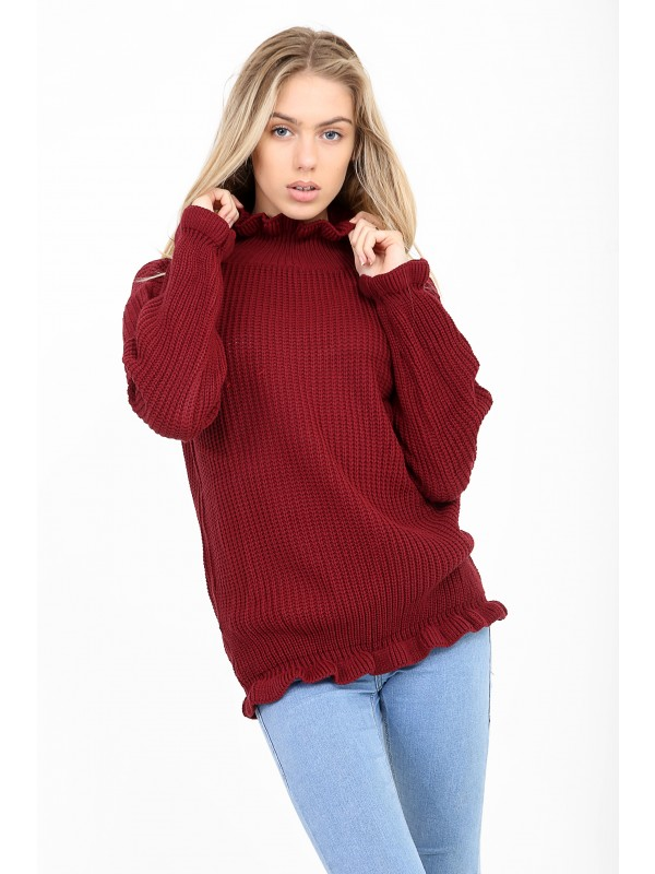 Ruched Ruffle Long Knitted Jumper