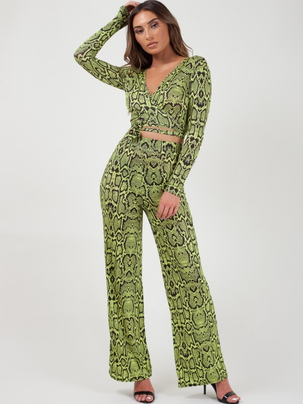 Snake Print Wrap Crop Top & Trouser Co-ord