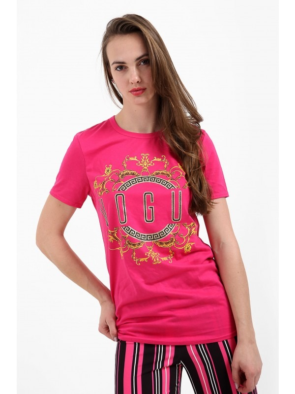 Patterned Print Vogue Slogan T Shirt