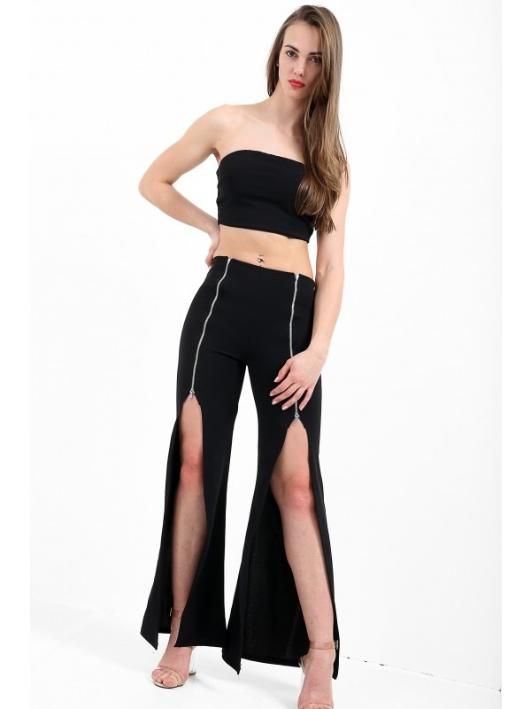 Bandeau Crop Top And Zip Front Trousers Co-Ord
