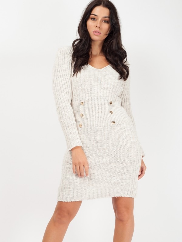 Rosie Button Front Knitted Bodycon Dress