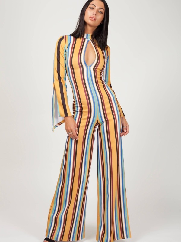 Keyhole Front Striped Jumpsuit