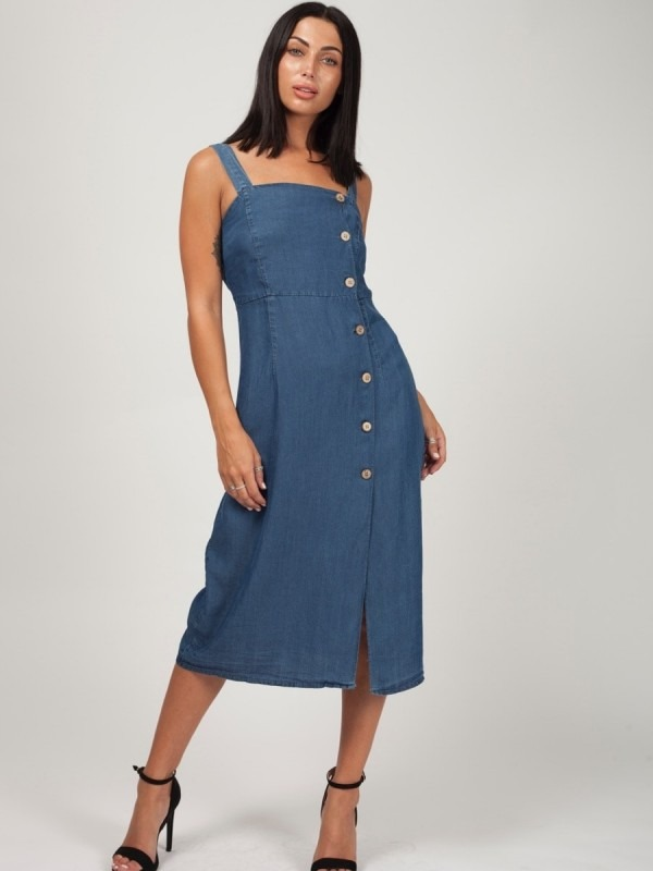 Wide Strap Button Front Denim Dress