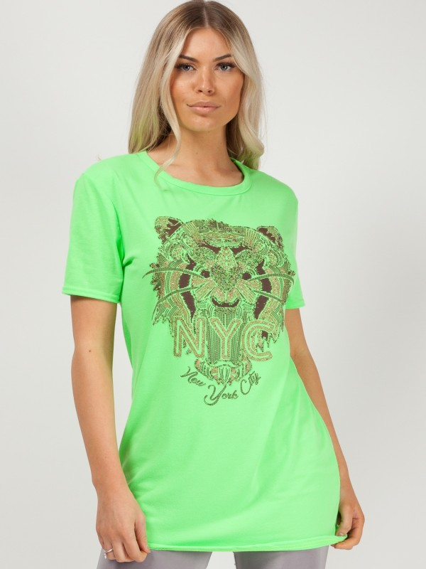 Glitter Tiger Printed T-Shirt