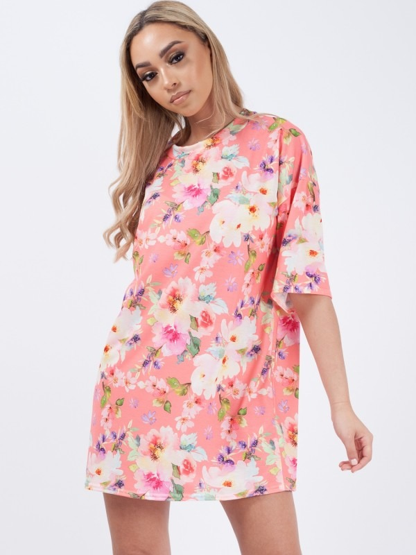 Floral Print Oversized Boyfriend Tunic T-Shirt