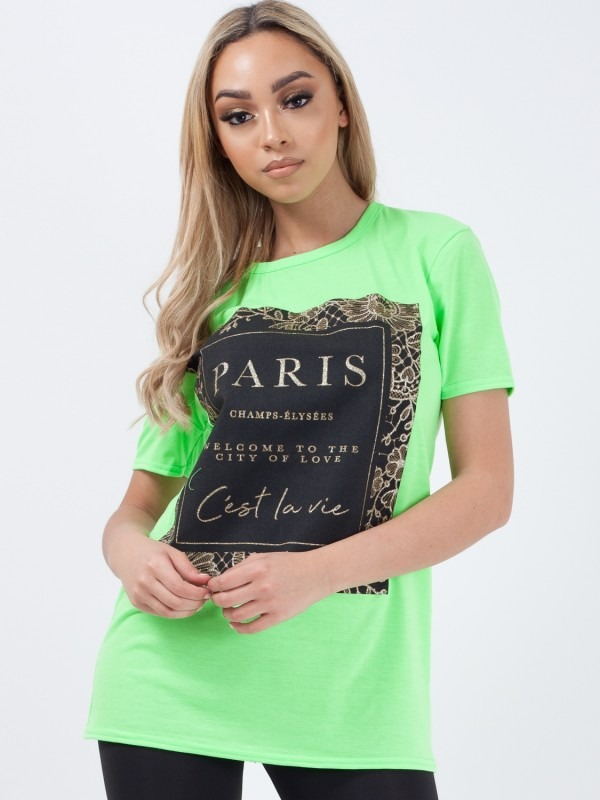 Glitter PARIS Slogan Printed T-Shirt