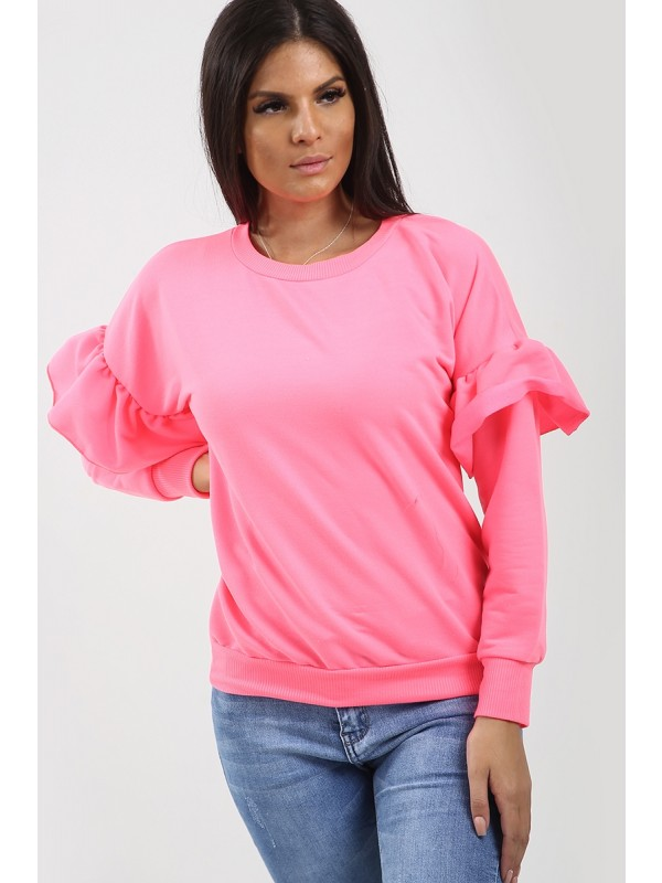 Frill Detail Sleeve Sweatshirt Jumper