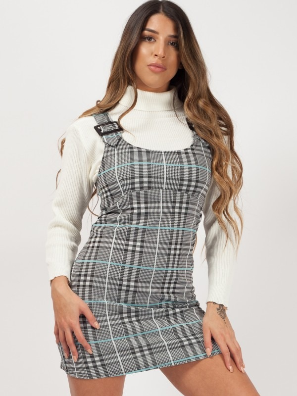 Buckle Strap Checked Pinafore Dress