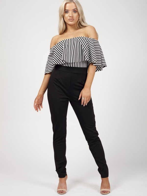 Monochrome Striped Frill Bardot Jumpsuit