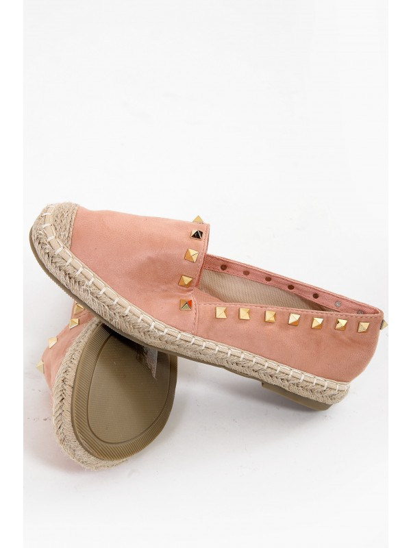 Faux Suede Studded Espadrilles