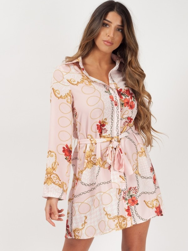 Floral Chain Print Tie Waist Shirt Dress