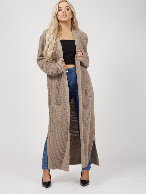 Longline Knitted Open Cardigan