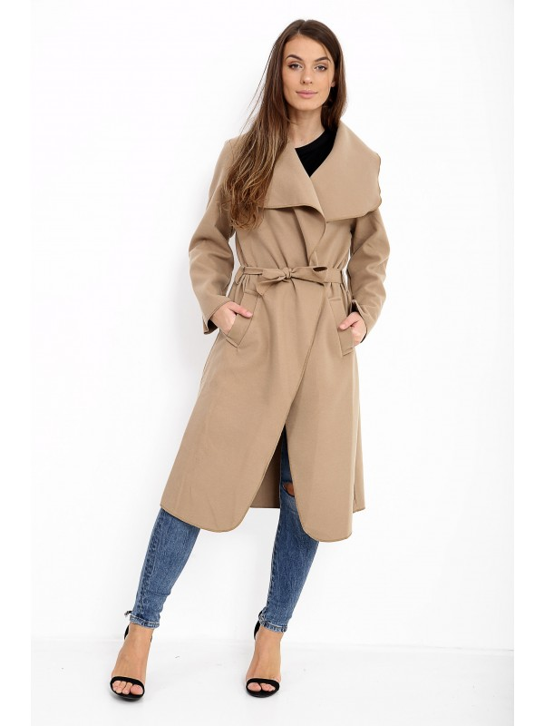 Celeb Kim Inspired Oversized Waterfall Long Belted Coat