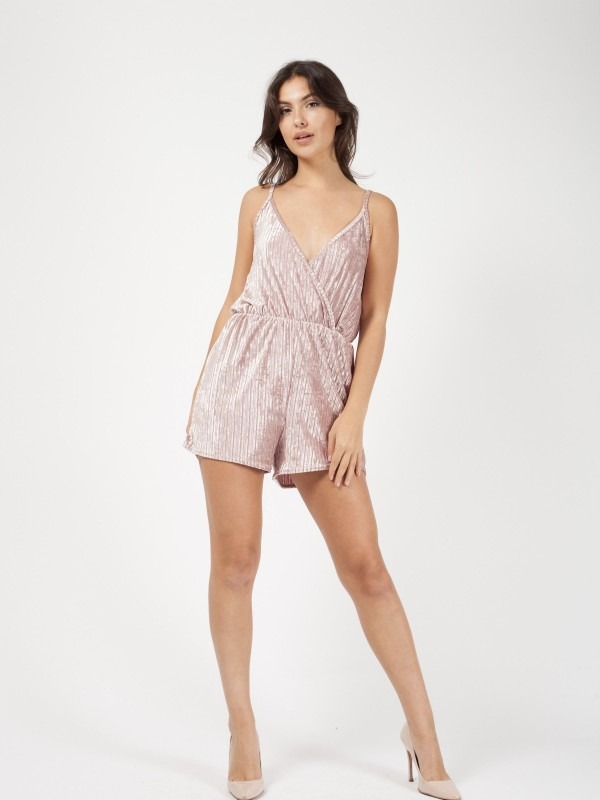 Velour Stripe Wrap Front Playsuit