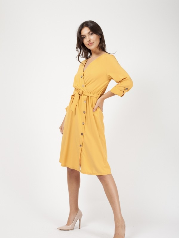 Button Detail Wrap Front Midi Dress