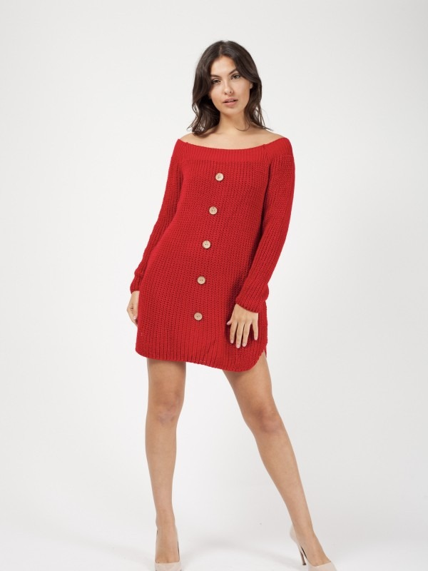Button Detail Knitted Jumper Dress