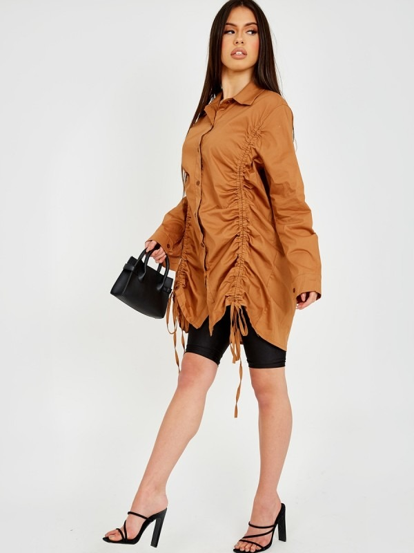 Drawstring Ruched Buttoned Shirt Dress