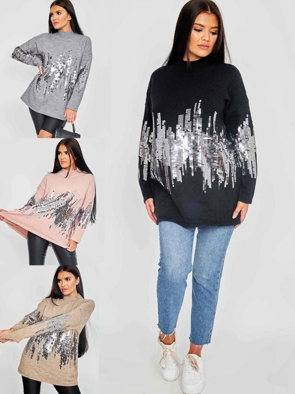Oversized Sequinned High Neck Jumper Multi Pack