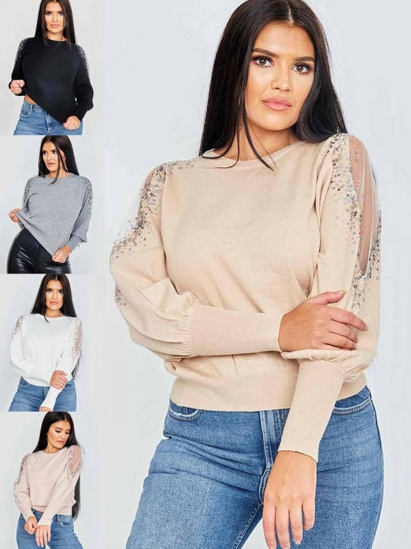 Sequinned Mesh Sleeve Jumper Multi Pack