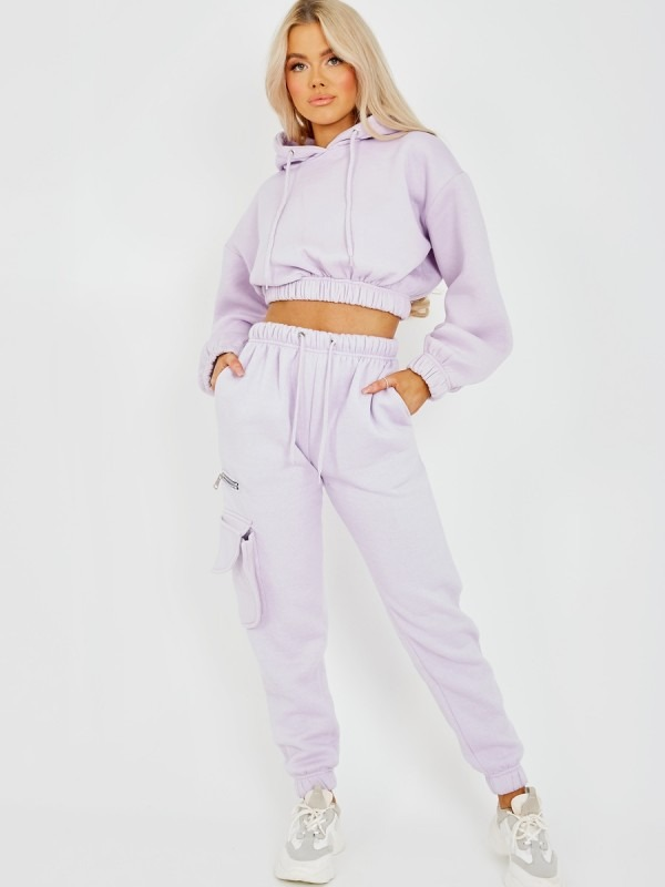 Fleeced Cropped Hoodie & Jogger Co-ord