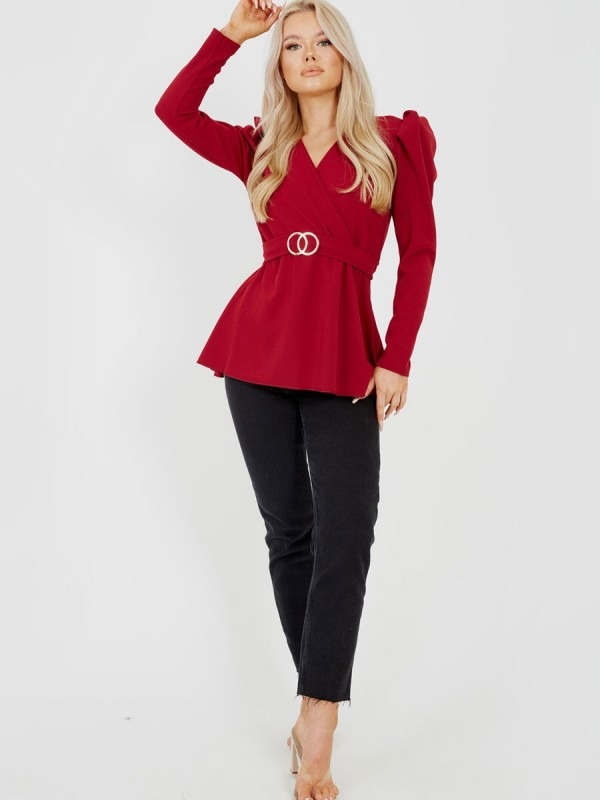 Double Ring Wrap Front Belted Top