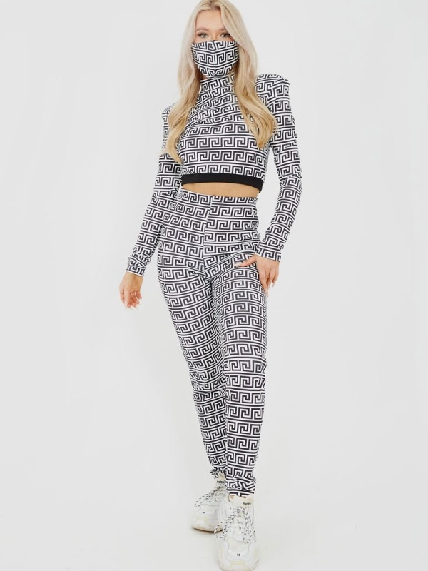 Illusion Print Co-ord With Face Mask