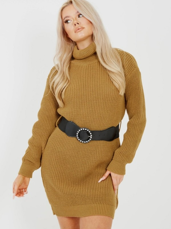 Roll Neck Knitted Dress With Belt