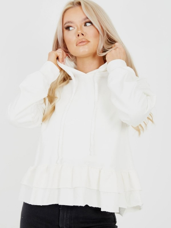 Layered Frill Hem Hooded Top