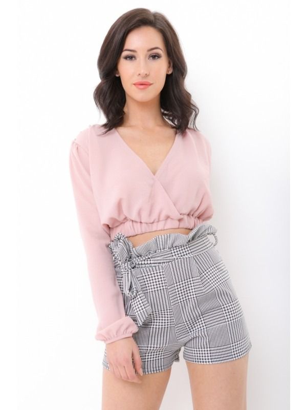 Multi Check Paper Bag Belted Shorts