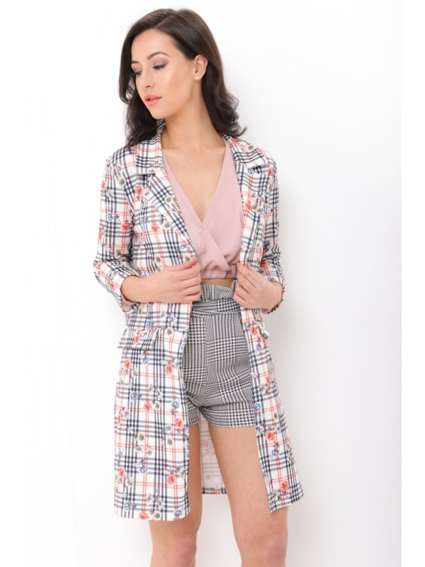 Floral Check Long Line Duster Blazer