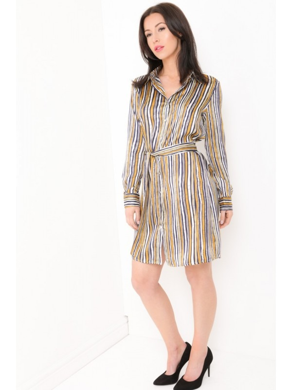 Multi Striped Satin Shirt Dress