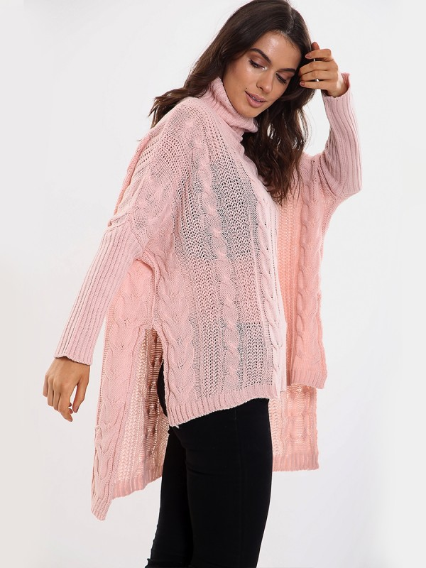 Kady Oversized Dip Hem Cable Knit Jumper